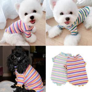 Pet-Dog-Clothes-Puppy-Vest-T-shirt-Shirt-Strip-Cute-Rainbow-Cat-Beauty-Clothes