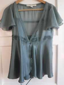 fbe8c8cfea64f Stella McCartney for H M Teal Silk Wrap Top with Beaded Ties Size 10 ...