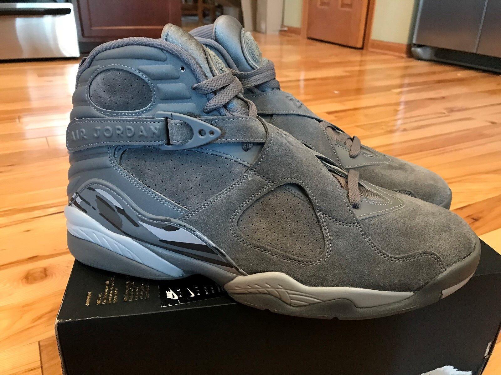 7b50634f651 Nike Air Jordan 8 Retro Cool Grey/wolf Grey Suede 305381 014 Size 15 ...
