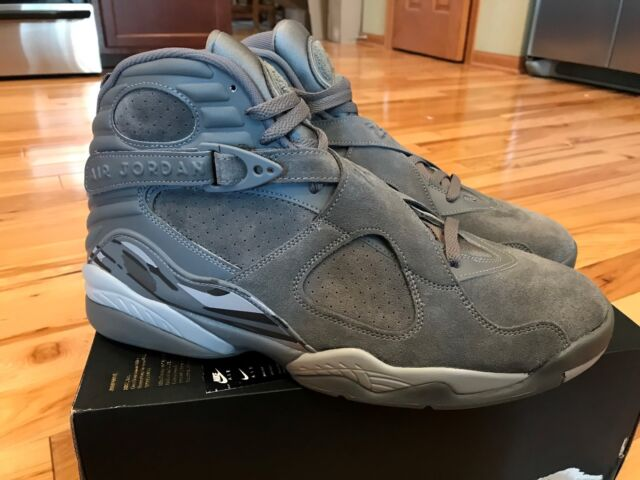 2e0c56215402 Frequently bought together. NIKE AIR JORDAN 8 RETRO COOL GREY WOLF GREY  SUEDE 305381 014 ...