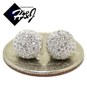 MEN-WOMEN-925-STERLING-SILVER-ROUND-8MM-LAB-DIAMOND-BLING-3D-STUD-EARRING-E30