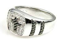 Mens Diamond Cross Sterling Silver Ring Size: 10 1/2
