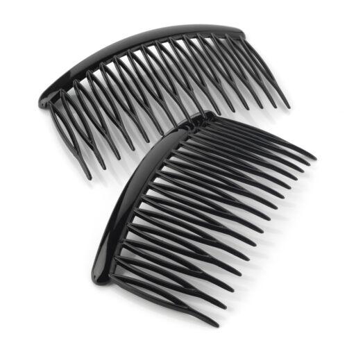 Packung 2 Federclip Zähne Haar Kämme Rutschen Schwarz Klar oder Schildpatt 8cm