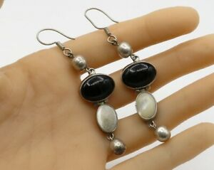 MEXICO-925-Sterling-Silver-Vintage-White-Opal-amp-Black-Onyx-Earrings-E1578