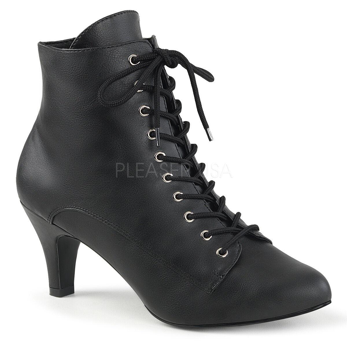 Negro Encaje Victoriano Steampunk Disfraz Mujer botas al Tobillo Zapatos