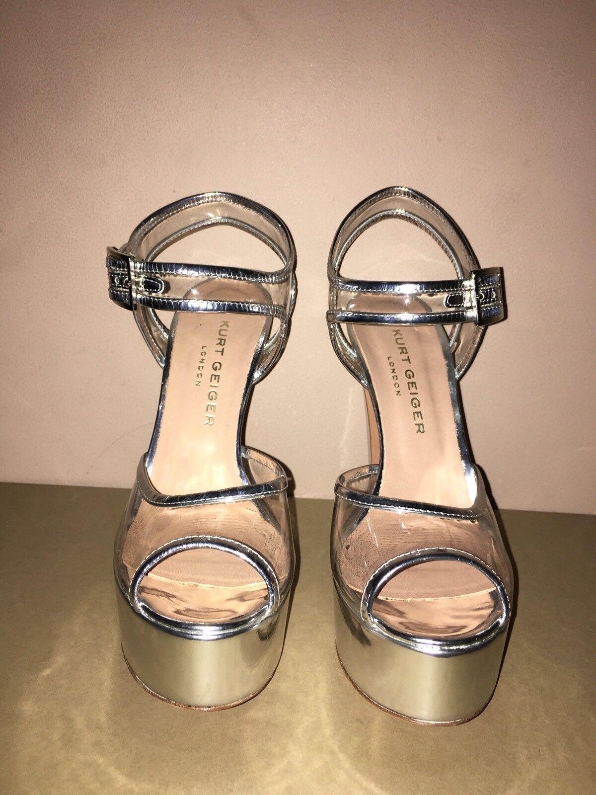 Kurt Geiger Donna Brevetto ARGENTO/TRASPARENTE scarpe NUOVO CON SCATOLA taglia 40/7