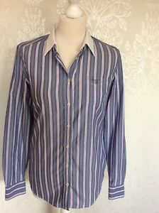 GANT-Chambray-Blue-Striped-Shirt-White-Collar-Long-Sleeve-Size-10-Business