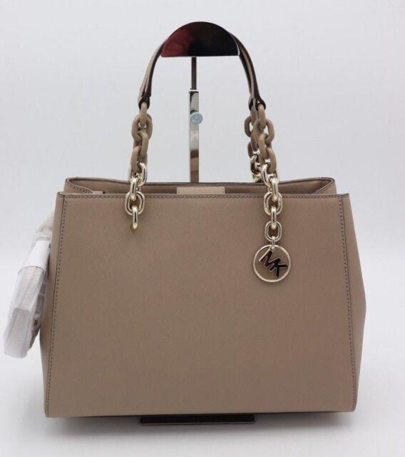 e15fcfa91b74 Michael Kors Cynthia MD Satchel Truffle Gold Chain Bag Saffiano Leather