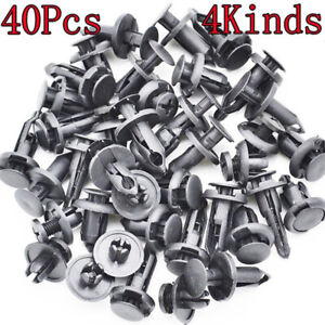 40pcs Auto Car Push Pin Rivet Bumper Fender Retainer Fastener Mud Flaps Clip Kit