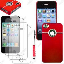 Housse Coque Silver-Line chromé Rouge Apple iPhone 4S 4+Mini Stylet+3 Films