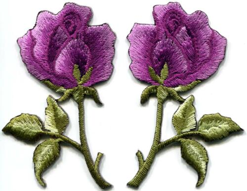 Purple roses pair flowers boho embroidered appliques iron-on patches S-1255