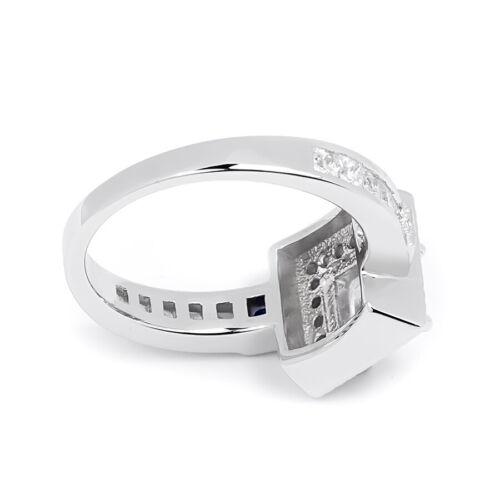 Women/'s 2.10 CT Princess Cut Blue Sapphire Halo Bridal Ring Silver Size 5-9