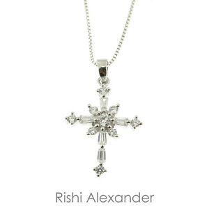 925 sterling silver cubic zirconia cz snowflake cross pendant or image is loading 925 sterling silver cubic zirconia cz snowflake cross aloadofball Image collections