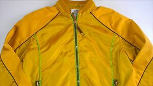 B-Tru-Track-Jacket-Womens-M-L-Zip-Pockets-Mustard-Gold-Green-Gym-Mesh-Net-Lined