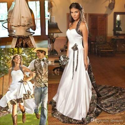 Wedding Dress Halter Sweep Train