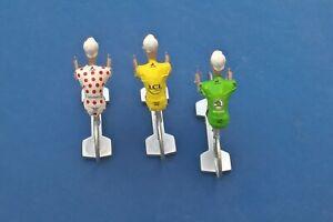 3-cyclistes-miniatures-Tour-de-France-Maillot-Jaune-vert-et-a-pois