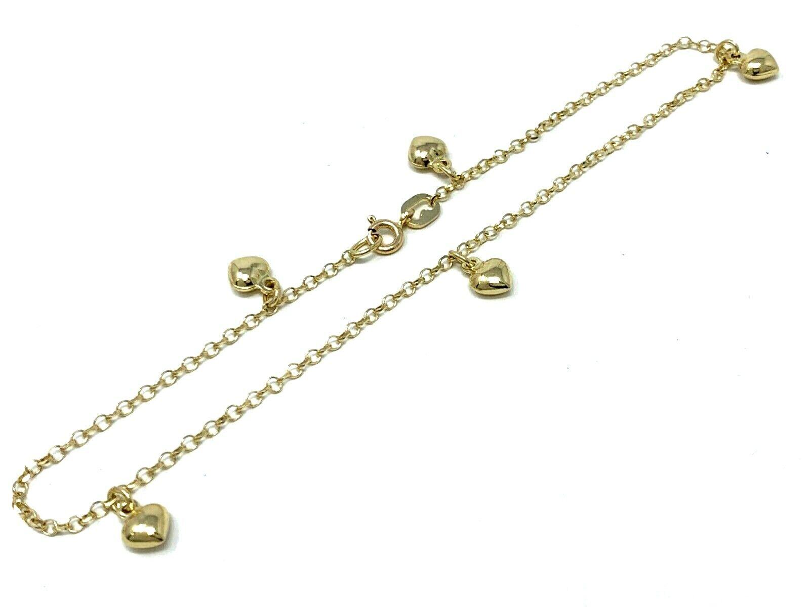 """14k Yellow Gold Heart Charm Anklet Bracelet 10/"""" 3.3 grams"""