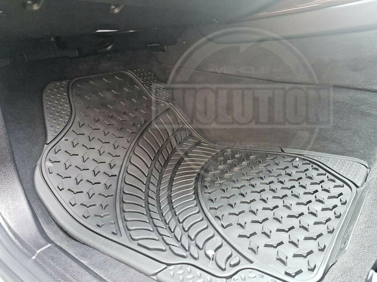 4PCS HEAVY DUTY UNIVERSAL BLACK CARPET /& RUBBER CAR MAT SET NON SLIP VAN MATS