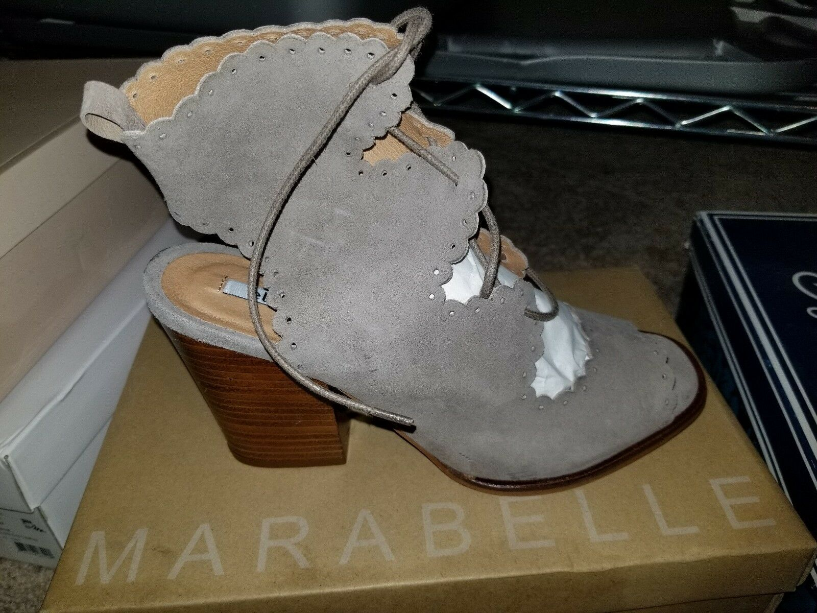 Elorie Suede Scalloped Suede Elorie Booties 9M NEW Taupe 56ba25