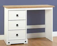 Corona White And Distressed Waxed Pine 3 Drawer Dressing Table