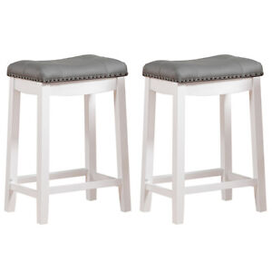 Image Is Loading Set Of 2 Counter Height Bar Stool White