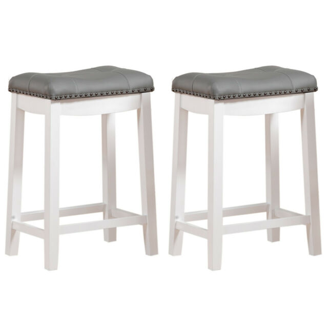 Astounding Set Of 2 Counter Height Bar Stool White Wood Padded Gray Seat Chair Backless 24 Gamerscity Chair Design For Home Gamerscityorg