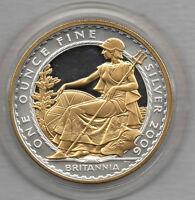 2006 SILVER WITH GOLD UK BRITANNIA COIN. 1 OZ FINE SILVER. £2. BRITANNIA SEATED.