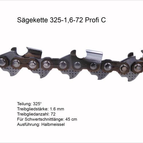 Profi C Sägekette 325 1.6 mm 72 TG Ersatzkette für Stihl Dolmar Husqvarna