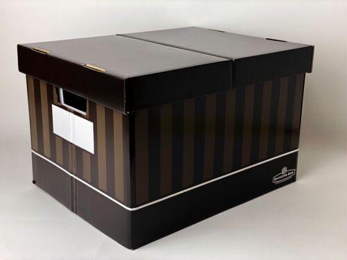 2-Banker Boxes Fellows Standard Decorative Storage File Brown StripesGloss
