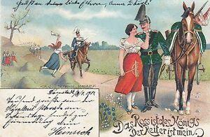 """Militär, Soldat mit Pferd, """"Das Ross ist des Königs, der Reiter ist mein"""", 1901 - Brachttal, Deutschland - Militär, Soldat mit Pferd, """"Das Ross ist des Königs, der Reiter ist mein"""", 1901 - Brachttal, Deutschland"""