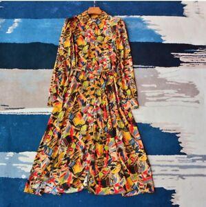 New-LK-Bennett-Runa-Luggage-Print-Silk-Shirt-Dress-Sz-UK-8