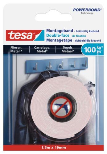 100 kg//m tesa Ultra starkes Montageband für Fliesen und Metall 1,5m x 19 mm