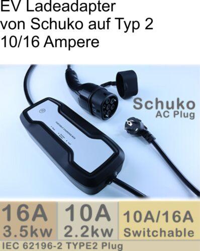 EV Ladekabel von Schuko auf Typ2 Mode2 z.B f Audi A3 e-tron 10//16 Ampere
