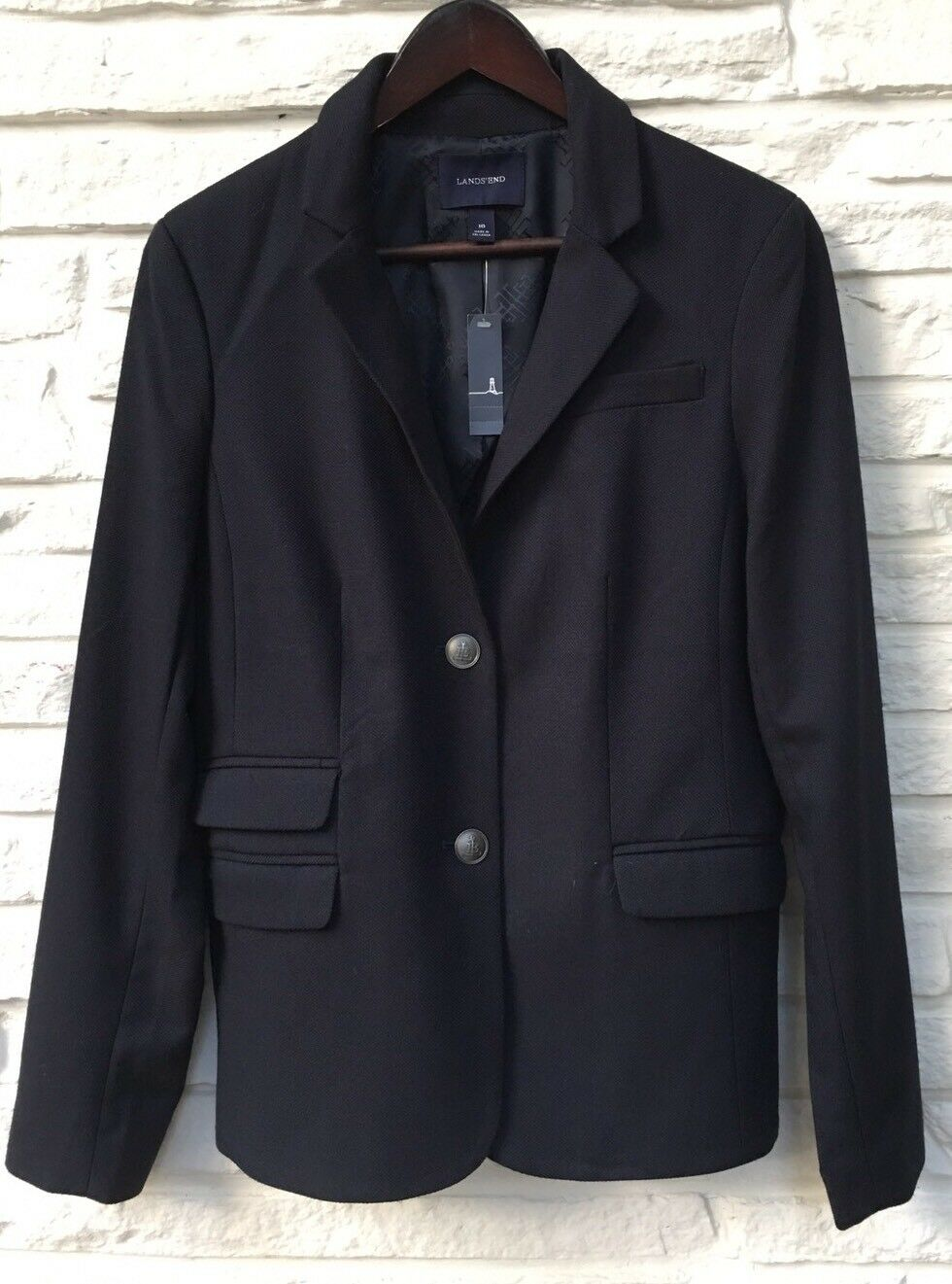 LANDS' END Navy bluee Blazer Fine Basket Weave Anchor Logo Buttons NWT Size 10