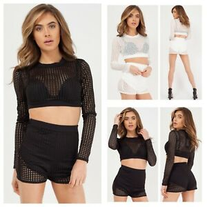d5e0230cc1 Details about Women's Ladies Long Sleeve Fish Net Crochet Crop Top Shorts 2  Piece Co-ord Set