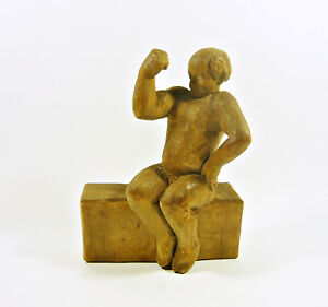 """Vintage Artist Signed Woodenware Carved Figurine ! Nude Muscle Man Flexing 7"""" Decorative Arts Woodenware"""