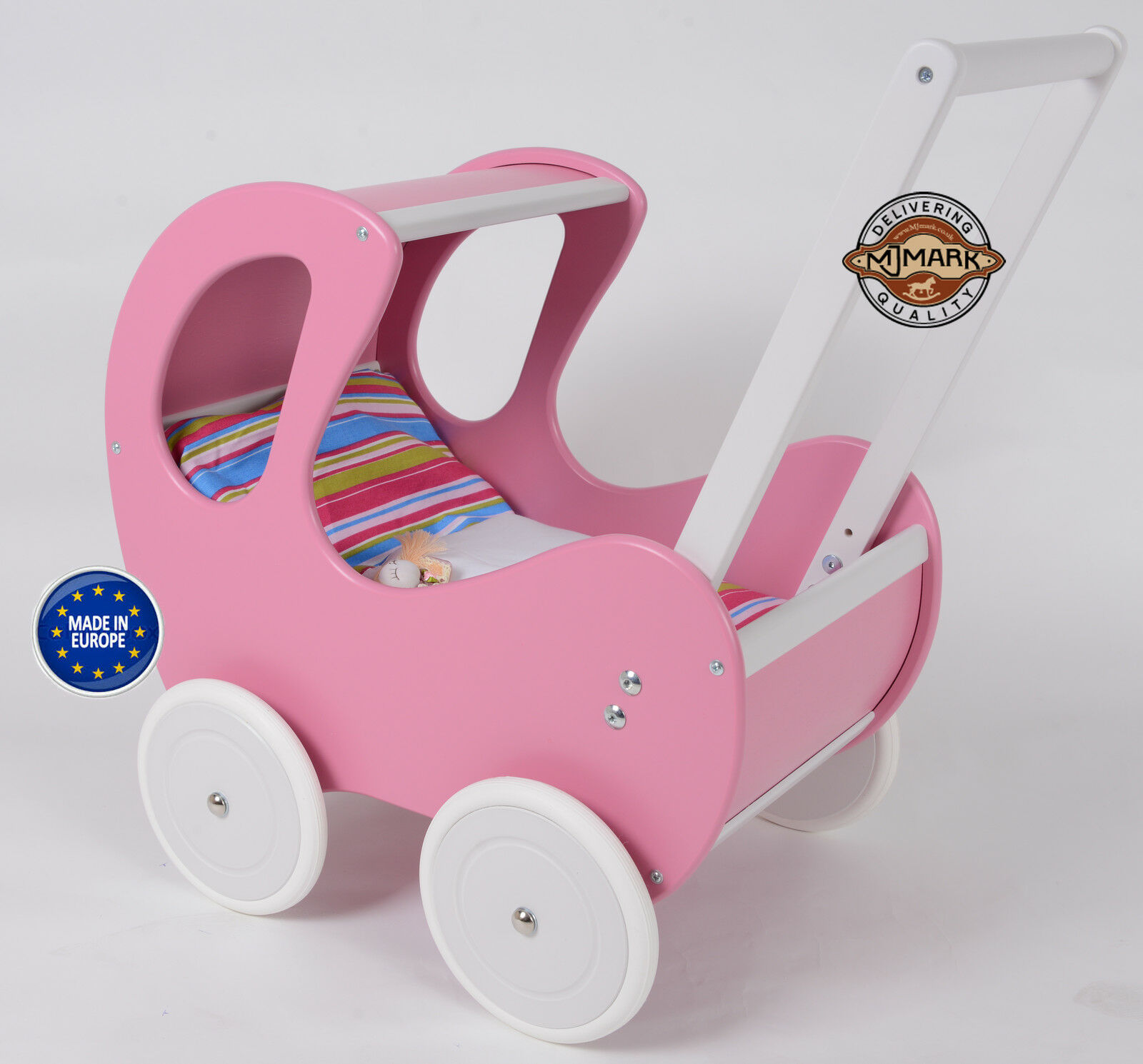 Brand New Wooden Doll Pram ZIZI III B2 including BEDDING Doll´s PRAM from MJmark