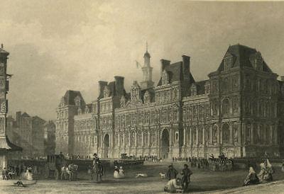 Hotel De Ville Mairie De Paris Gravure Originale 1876