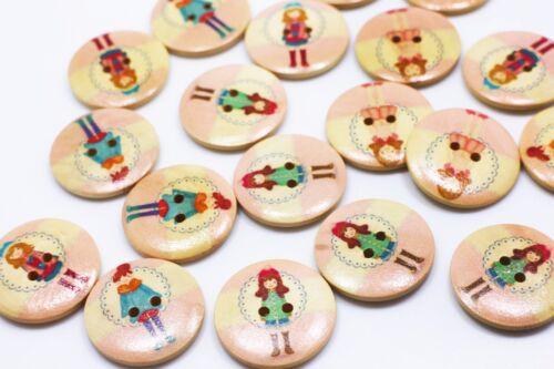 Girls Wooden Button Light Pink Large Coat Buttons Children Baby Wood 30mm 20pcs