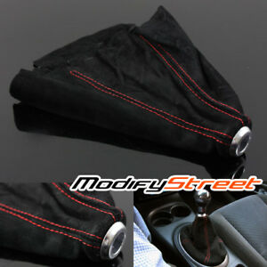 JDM SPORT RED STITCH/BLACK ALCANTARA SUEDE MANUAL/AUTO SHIFT SHIFTER BOOT COVER