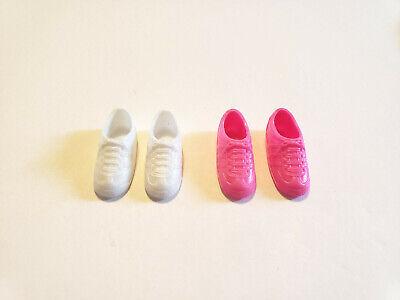 2 Pair Vintage Barbie Stacie Courtney White Purple Tennis Shoes Sneakers  EUC
