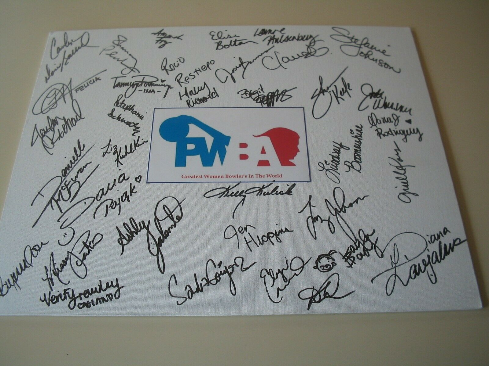 PWBA Bowler Bowling Signed Autographed Canvas Board 14 x 18 Greatest Bowlers