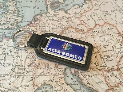 ALFA ROMEO PRINTED Quality Black Real Leather Key ring Fob