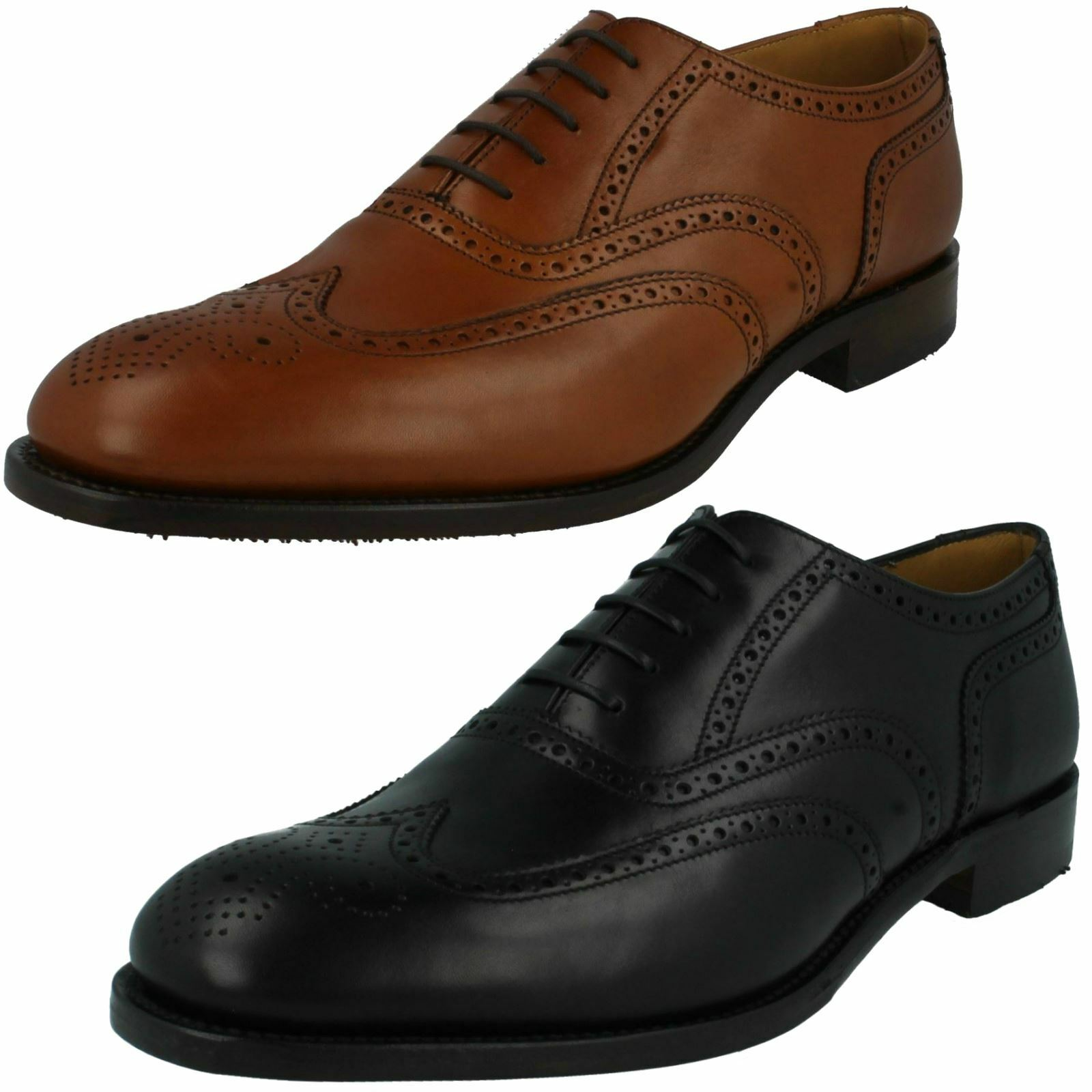 Mens Loake Leather Lace Up Smart Brogue Shoes Severn2