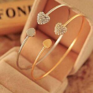 Fashion-Gold-Rhinestone-Crystal-Love-Heart-Bangle-Cuff-Bracelet-Women-Jewellery