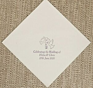 100-Personalised-Wedding-Napkins-40cm-3ply-Choice-of-9-colours-3-lines-Motif