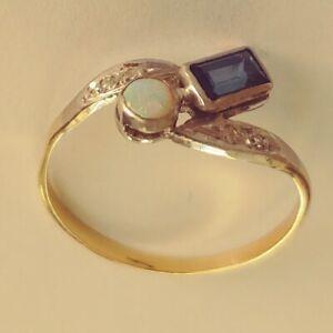 Antik-Stil-Exklusiv-Art-Deco-Ring-Echt-585-Gelb-Weissgold-Diamanten-Saphir-Opal