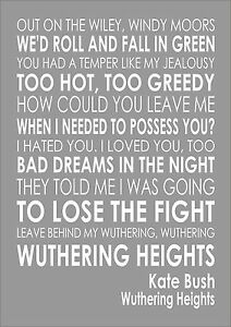 KATE BUSH Typography Words Song Lyric Lyrics Music Wall WUTHERING HEIGHTS