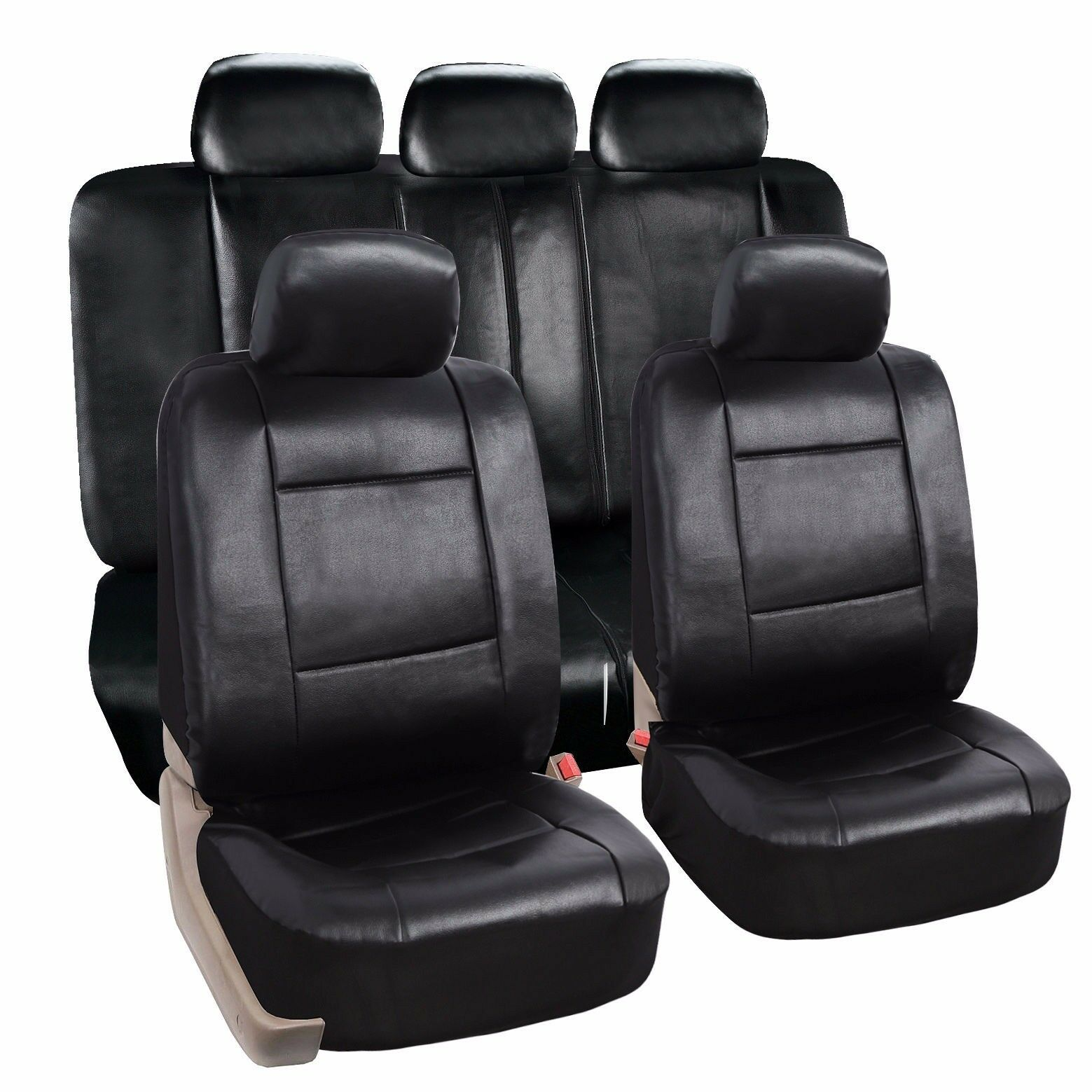 Leather Car Seats >> Zone Tech PU Luxury Leather Car Seat Full Set Covers