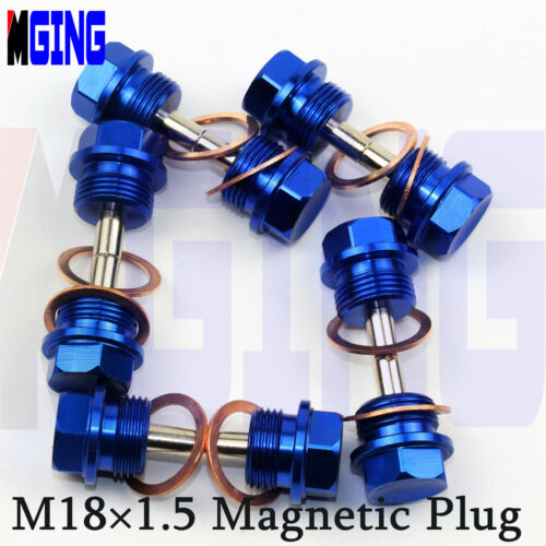 Engine Magnetic Oil Pan M18X1.5 Drain Plug Bolt Filter Adsorb Cover Crush Washer